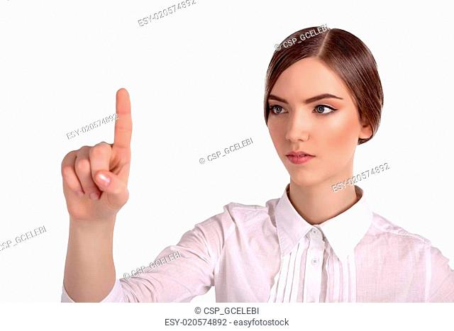 Businesswoman pointing progress in