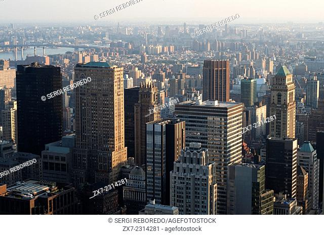 USA, New York City, Aerial views of Midtown West & Theater District