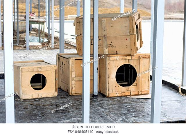 construction of a shelter for dogs, the theme of charity and mercy, animal shelter, dog rescue, volunteer work