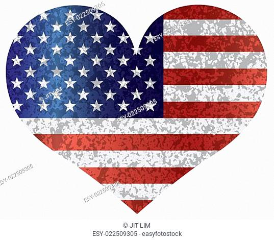 4th of July USA Flag Heart Textured