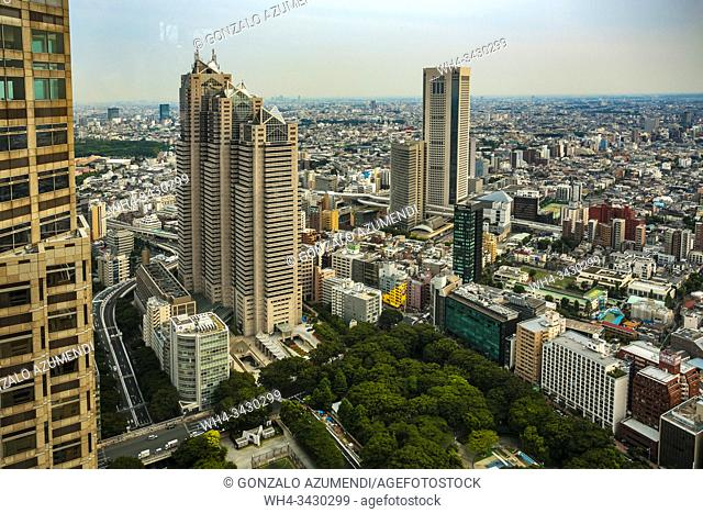 View from Tokyo Metropolitan Government Building or Tocho. Shinjuku district, Tokyo, Japan, Asia