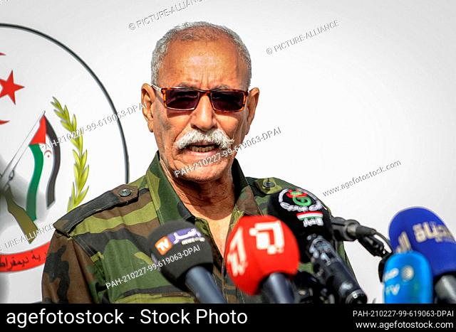 27 February 2021, Algeria, Tindouf: Sahrawi President Brahim Ghali speaks during a military parade marking the 45th anniversary of the declaration of the...