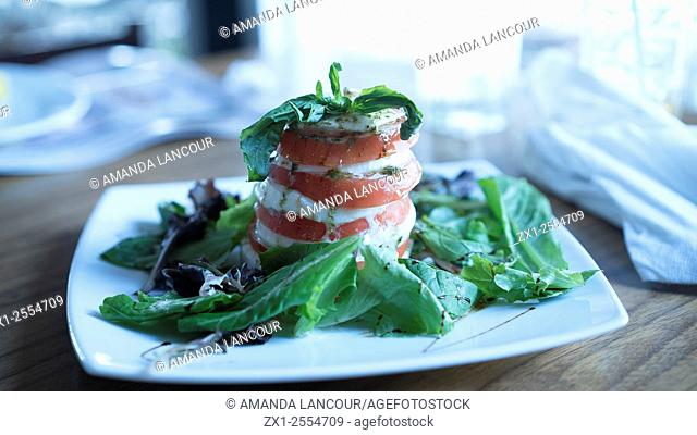 Plated Caprese Salad with Balsalmic drizzle on mixed Mescaline Salad in clean kitchen environment with window light. Shot at a restaurant in San Juan