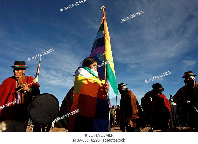 Bolivia, Tiahuanaco, Andines New Year festival, flag of indigenous people of Latin America, pilgrims