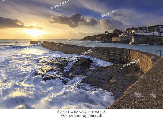 The pier at Porthleven on Cornwall's Lizard Peninsular, captured in February when sunset coincided with one of the highest tides of the year
