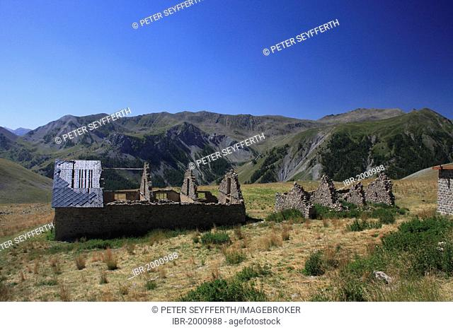Camp of Fourches, ruins of military barracks on the road to the Col de la Bonette mountain pass, highest paved road in Europe, Alpes-Maritimes department