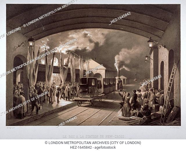 'Le roi a la station de New Cross', 1844. King Louis Phillippe of France being greeted at New Cross Station, Deptford, London