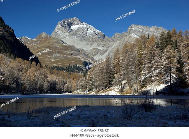 Switzerland, Europe, Graubünden, Grisons, Alps, Albula, Landscape, Mountain, pass, autumn, lake Palpuognasee, lake, ice
