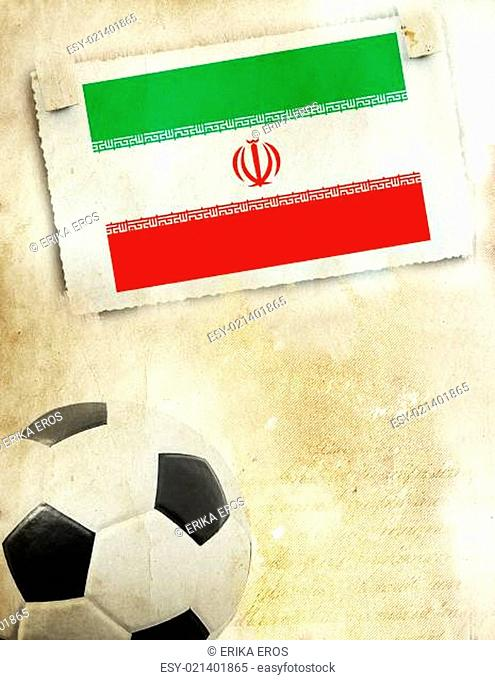 Photo of Iran flag and soccer ball