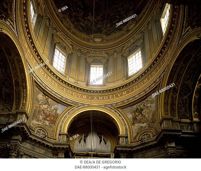 Details from the vault and dome of the Church of St Agnes in Agone, Rome. Italy, 17th century