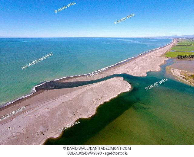 Opihi River Mouth, near Temuka, South Canterbury, South Island, New Zealand, drone aerial