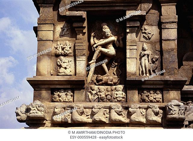 Natraj statue on exterior wall of eleventh century Shiva temple on Gangaikondacholapuram , Tamil Nadu , India