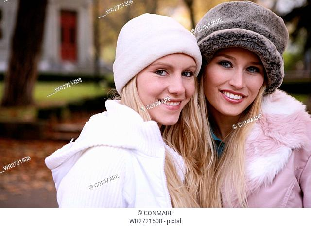 women, beauty, autumn, park, stylish, friends, you