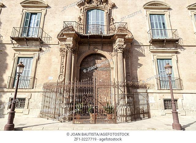 Historic building,palace,palacio episcopal,baroque-rococo style,door entrance square glorieta,Murcia,Spain