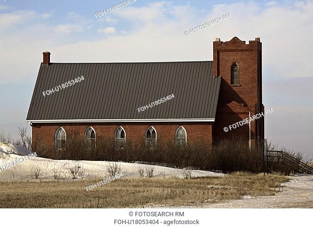 church, scene, winter, country