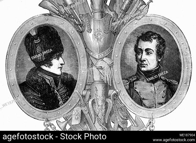 Left: Gerard Christophe Michel Duroc. Duke of Frioul. French general with Napoleon. 1772-1813. Right: Auguste de Marmont. French general