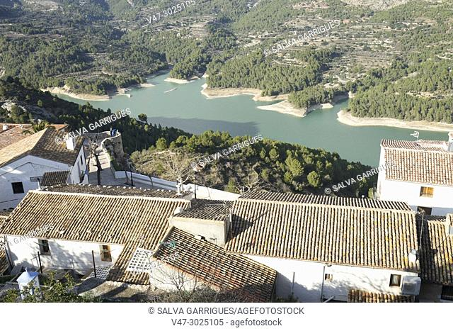 View of the marsh and the roofs of Guadalest from the Castle