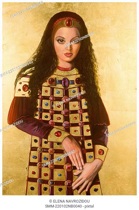 Medieval woman in crown with long hair