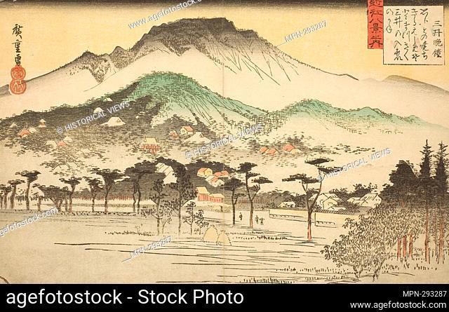 Author: Utagawa Hiroshige. Evening Bell at Mii Temple (Mii bansho), from the series 'Eight Views of Omi (Omi hakkei no uchi)' - c