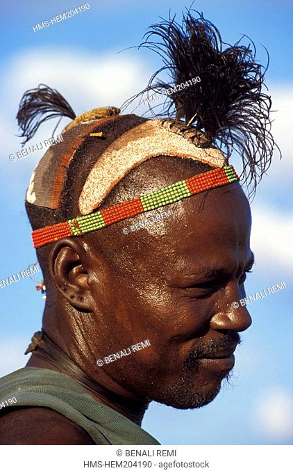 Ethiopia, Lower Omo Valley, listed as World Heritage by UNESCO, traditional hairstyle of a warrior from the Hamer Tribe, he wears ostrich feathers when he has...
