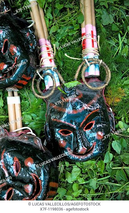 Masks for the `Plens' La Patum Masterpiece of Oral and Intangible Heritage by UNESCO Berga  Barcelona  Catalonia  Spain