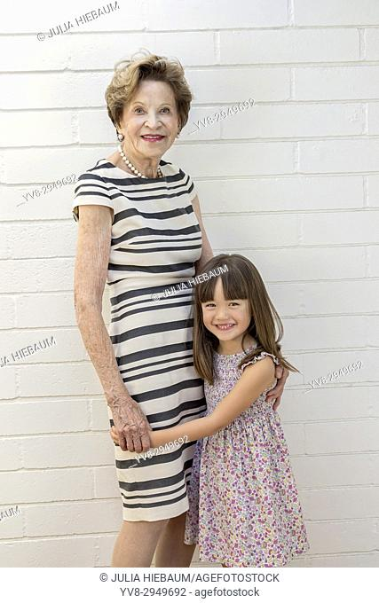 Five year old girl with her great grandmother