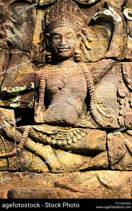 Relief at Angkor Thom, Bayon, Siem Reap province, Cambodia, South East Asia