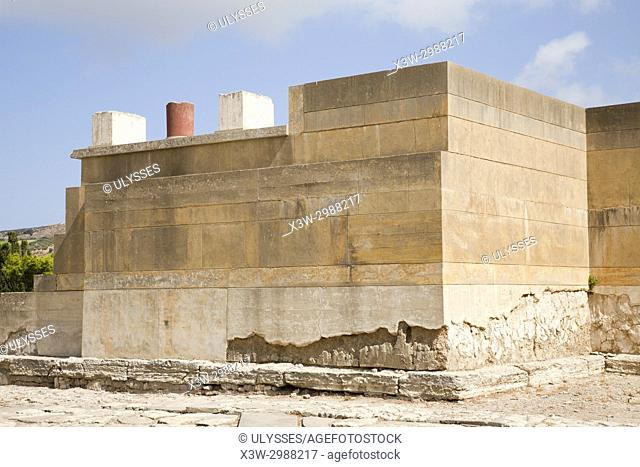 West court, West facade, Knossos palace archaeological site, Crete island, Greece, Europe