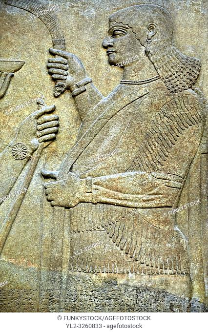 Assyrian relief sculpture panel from Nimrud, Iraq. 865-860 B. C North West Palace. British Museum Assyrian Archaeological exhibit