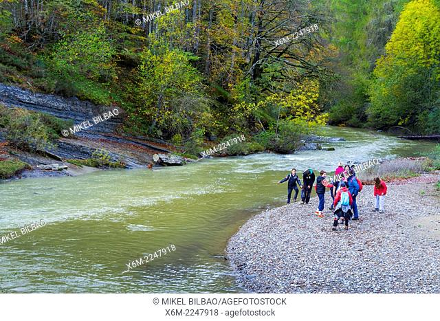 People in the river. Irati Forest. Navarre, Spain. Europe