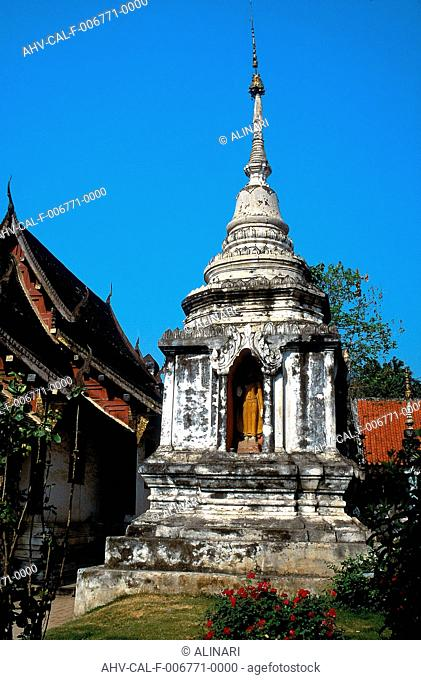 View of a stupa with relic, in Chiang Mai, Province of Changwat, Prathet Thai (XIV-XVI century), shot 1989 - 1991 by Alinari