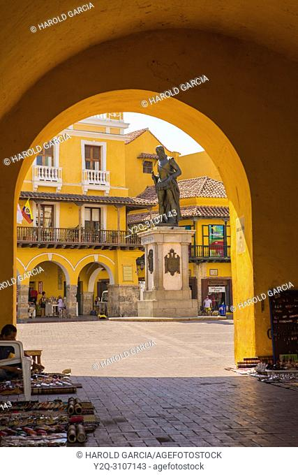 Entrance to Plaza de la Aduana in Cartagena, Colombia