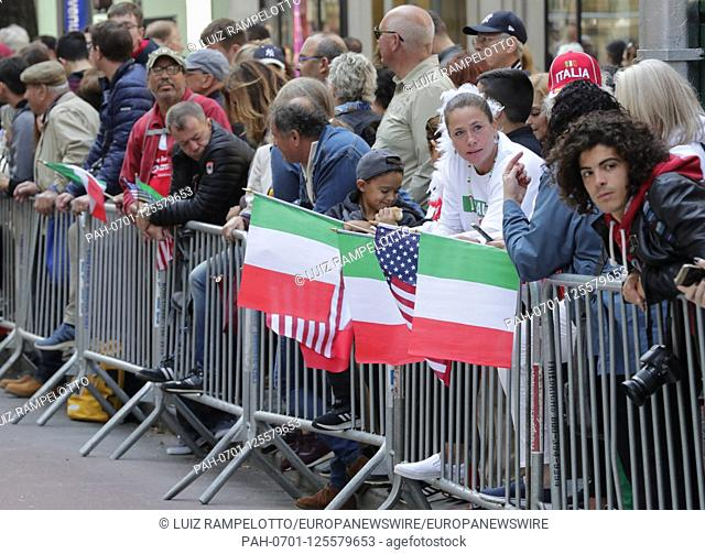 Fifth Avenue, New York, USA, October 15, 2019 - Thousands Peoples Participated the 2019 Columbus Day Parade in New York City