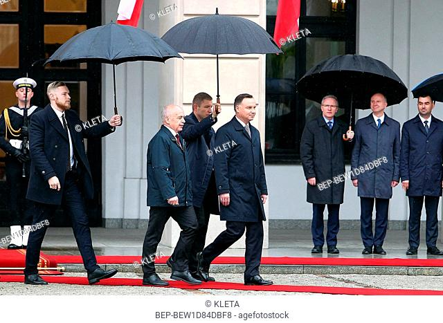A visit of the President of the Swiss Confederation to Warsaw, Poland on May 14th 2019. Pictured: Andrzej Duda and Ueli Maurer