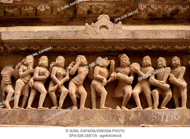 Sculptures on Lakshmana Temple, Khajuraho, Madhya Pradesh, India, Asia