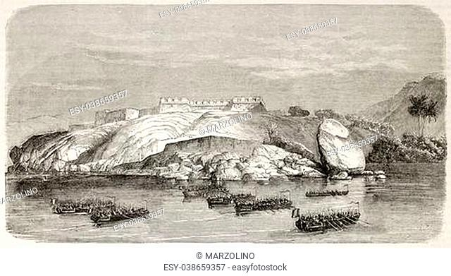 French intervention in Mexico: attacking Red Battery in Acapulco surroundings. Created by Best and Cosson-Smeeton, published on L'Illustration