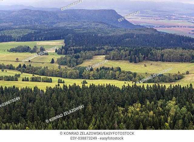Aerial view from Szczeliniec Wielki, the highest peak of Stolowe Mountains (Table Mountains) range, part of the Sudetes, Lower Silesia, Poland