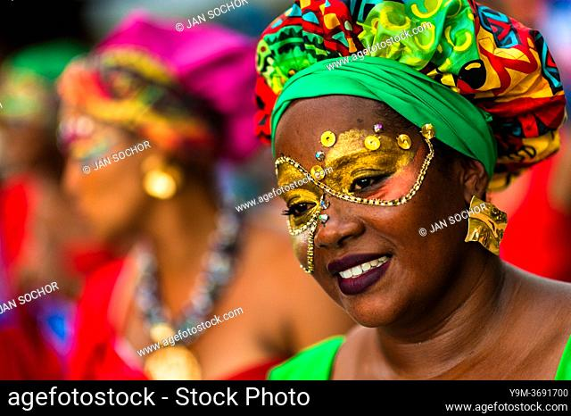 An Afro-Colombian dancer of the Yescagrande neighborhood takes part in the San Pacho festival in Quibdó, Colombia, 1 October 2019