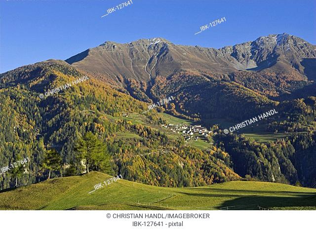 View to the village of Fendels, Fiss, Tyrol, Austria