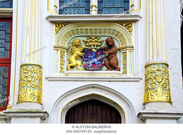 historical architecture detail with blazon in Brugge