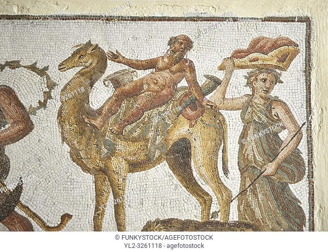 Picture of a Roman mosaics design depicting Silenus riding a camel, from the ancient Roman city of Thysdrus. 2nd century AD, House of the Dionysus Proccession