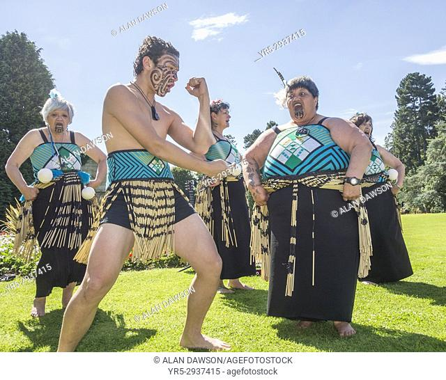 August 2017, Billingham, north east England, United Kingdom. Maori dancers from New Zealand performing the Haka at the Billingham International Folklore...