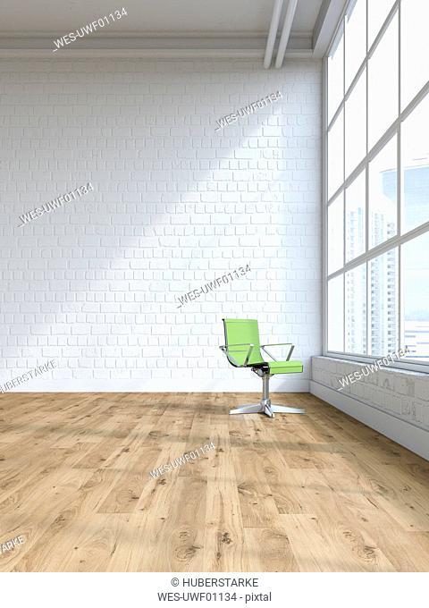 Single swivel chair in an empty loft, 3D Rendering