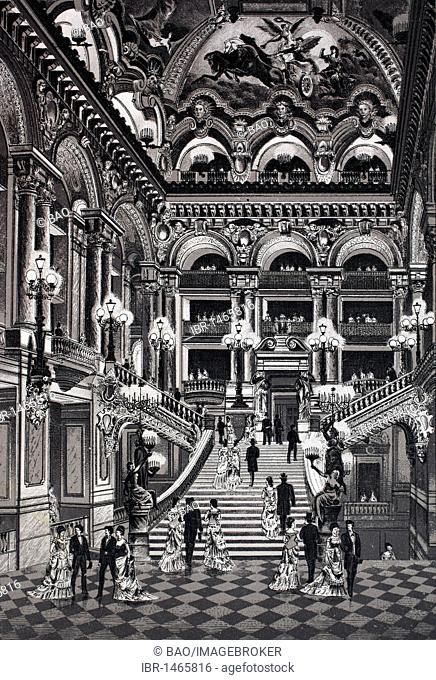 Opera, staircase, stairway, historic copper-plate etching, from around 1890, Neal's, Paris, France, Europe