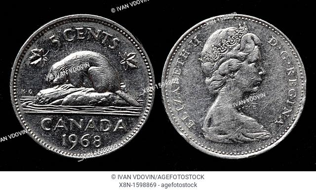 5 cents coin, Canada, 1968