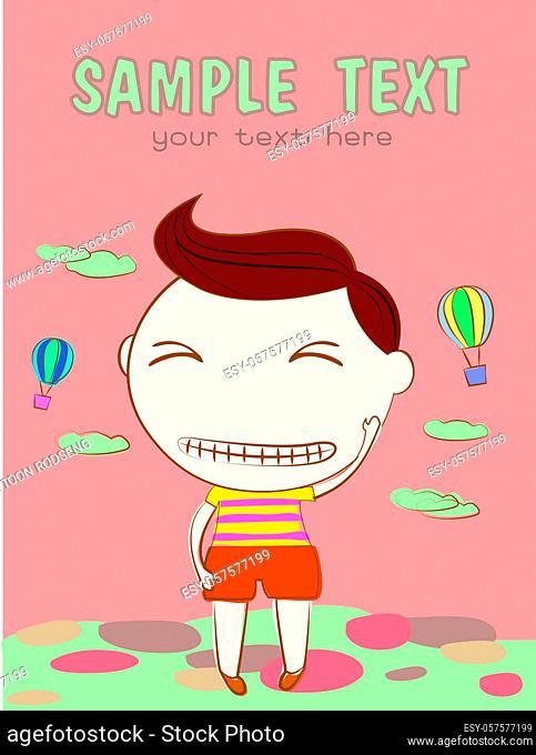 boy announcement card. vector illustration