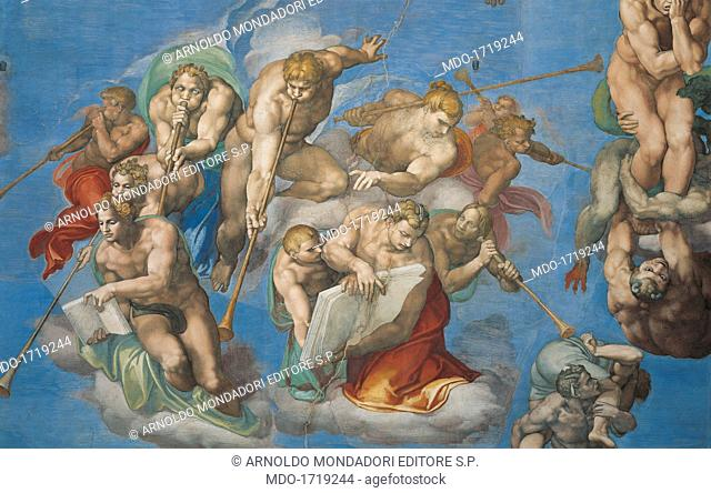 Sistine Chapel (Cappella Sistina), by Michelangelo Buonarroti, 16th Century, fresco. Vatican City, Vatican Museums. Detail of The Last Judgment, 1535 - 1541