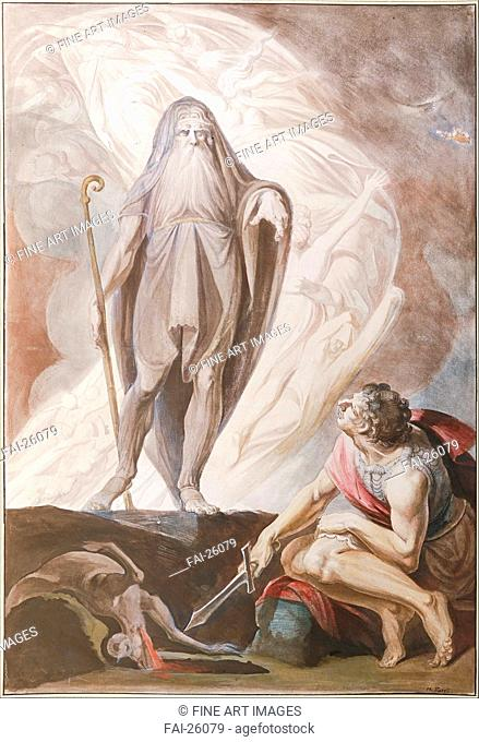 Teiresias Foretells the Future to Odysseus. Füssli (Fuseli), Johann Heinrich (1741-1825). Pen, brush, brown colour, black chalk, water colour on paper