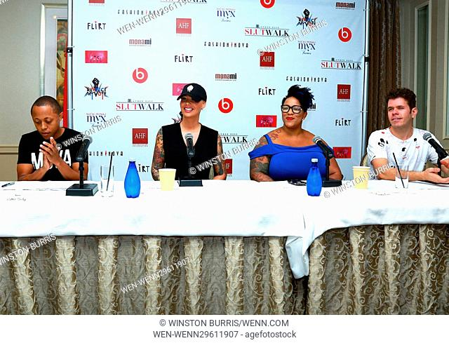 Celebrities speak at the SlutWalk Press Conference at Four Seasons Hotel Featuring: Joanne, Amber Rose, Frenchie Davis, Perez Hilton Where: Los Angeles