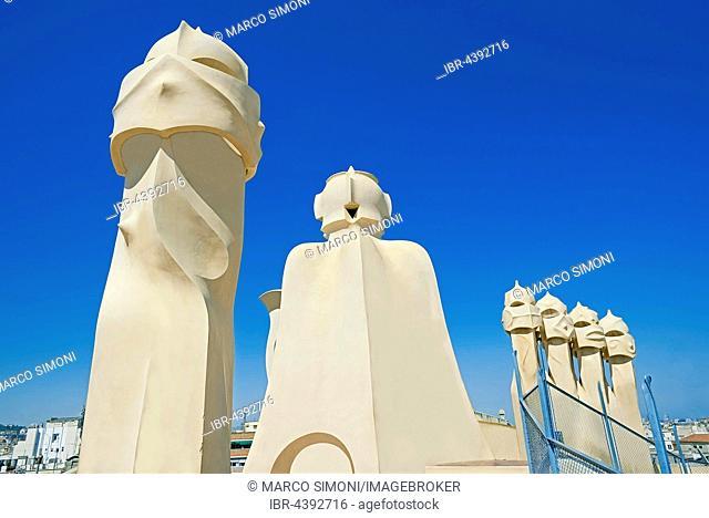 Chimneys, Casa Mila, Barcelona, Catalonia, Spain